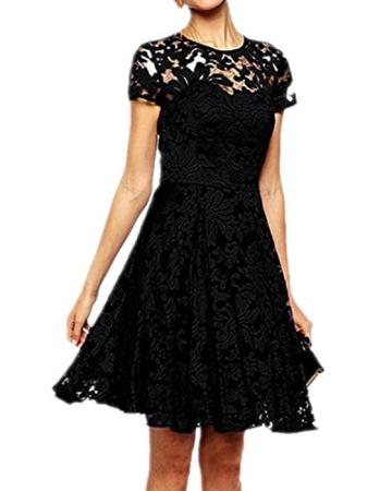 Babyonline Kleid Spitze Sommerkleider Damen Kurz Spitzenkleid Minikleid Festliches Partykleid Cocktailkleid Brautjungfernkleid Schwarz 2XL - 3
