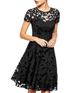 Babyonline Kleid Spitze Sommerkleider Damen Kurz Spitzenkleid Minikleid Festliches Partykleid Cocktailkleid Brautjungfernkleid Schwarz 2XL - 1