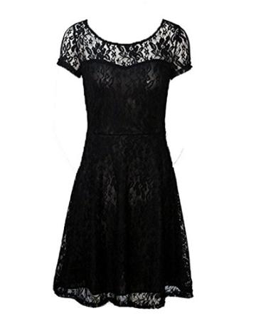 Babyonline Kleid Spitze Sommerkleider Damen Kurz Spitzenkleid Minikleid Festliches Partykleid Cocktailkleid Brautjungfernkleid Schwarz 2XL - 4