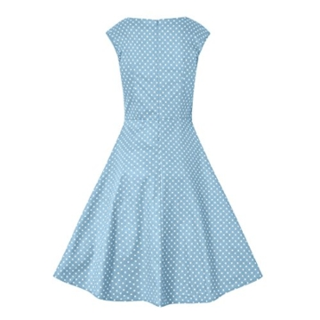 Babyonlinedress Damen Vintage 50er Rockabilly Swing Kleider Himmelblau L - 2