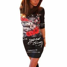 BAINASIQI Damen Longshirt Tunika Minikleider Sommerkleid Lässige Kleidung Blumendruck Slim (S, Schwarz) - 1