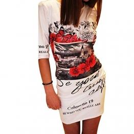 BAINASIQI Damen Longshirt Tunika Minikleider Sommerkleid Lässige Kleidung Blumendruck Slim (S, Weiß) -