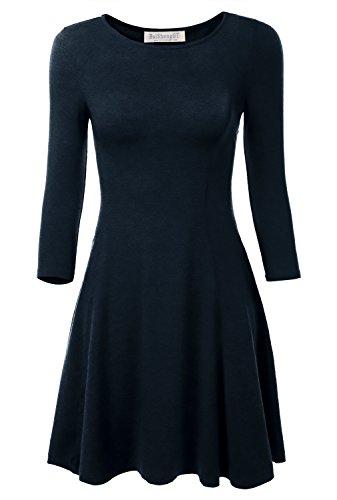 BAISHENGGT Damen Mini Skaterkleid Rundhals 3/4-Arm Fattern Stretch Basic Kleider Blau L - 1