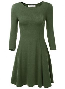 BAISHENGGT Damen Mini Skaterkleid Rundhals 3/4-Arm Fattern Stretch Basic Kleider Gruen S -