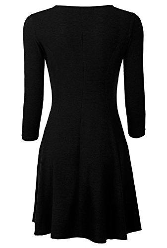 BAISHENGGT Damen Skaterkleid Rundhals 3/4-Arm Fattern Stretch Basic Kleider Schwarz S -