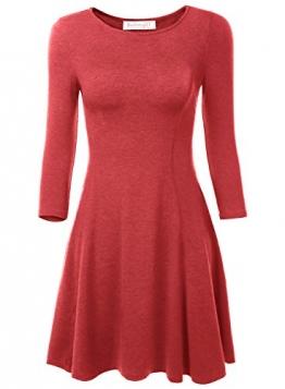 BAISHENGGT Damen Skaterkleid Rundhals 3/4-Arm Fattern Stretch Basic Kleider Weinrot M -