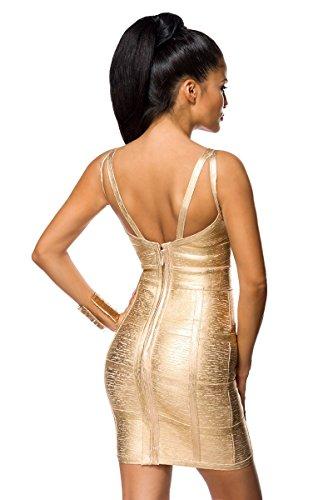 Bandage Kleid mit detailreichem Dekolleté und Metallic-Beschichtung A14023, Größe:36;Farbe:gold - 2