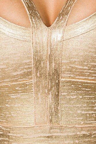 Bandage Kleid mit detailreichem Dekolleté und Metallic-Beschichtung A14023, Größe:36;Farbe:gold - 3