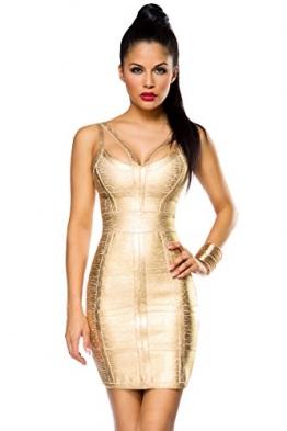 Bandage Kleid mit detailreichem Dekolleté und Metallic-Beschichtung A14023, Größe:36;Farbe:gold - 1