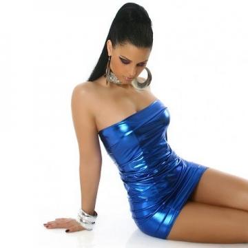 Bandeau-Gogo-Kleid in glänzender Optik (34-36), blau - 2