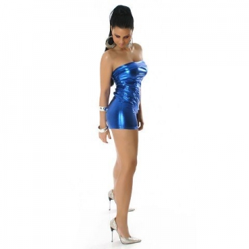 Bandeau-Gogo-Kleid in glänzender Optik (34-36), blau - 3