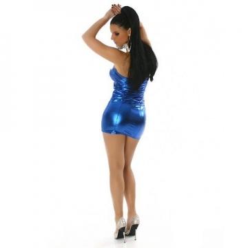 Bandeau-Gogo-Kleid in glänzender Optik (34-36), blau - 4