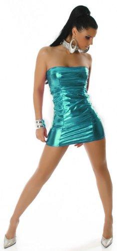 Bandeau-Gogo-Kleid in glänzender Optik (34-36), türkis - 1