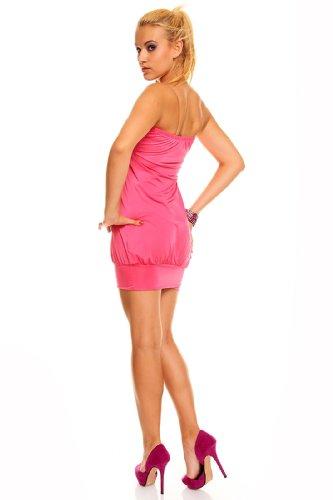 Bandeau Kleid Minikleid Longtop Top Partykleid Discokleid Pailletten / 25 Farben Pink - 2