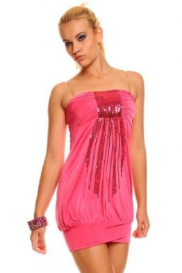 Bandeau Kleid Minikleid Longtop Top Partykleid Discokleid Pailletten / 25 Farben Pink - 1