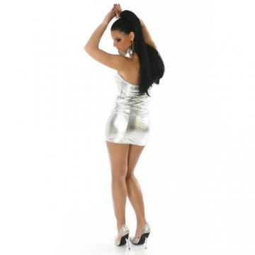Bandeau Minikleid Kleid Leder-Optik Gr. 34-38 Silber - 2