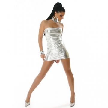 Bandeau Minikleid Kleid Leder-Optik Gr. 34-38 Silber - 3