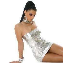 Bandeau Minikleid Kleid Leder-Optik Gr. 34-38 Silber - 1