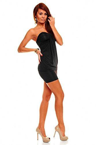 Bandeau Minikleid Partykleid Longtop Long Top Shirt Sommerkleid Schwarz - 2