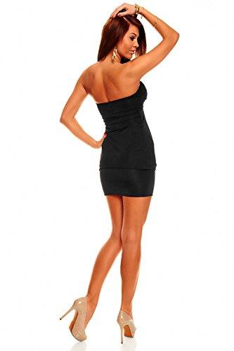 Bandeau Minikleid Partykleid Longtop Long Top Shirt Sommerkleid Schwarz - 3