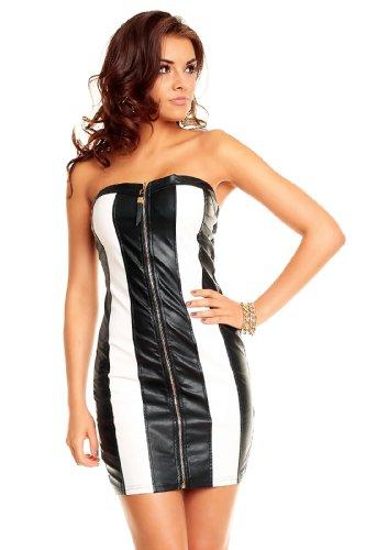 Bandeau Party Minikleid im Leder Look mit goldenen Pailletten in Schwarz - Weiß von KouCla Einheitsgröße XS S M - 1