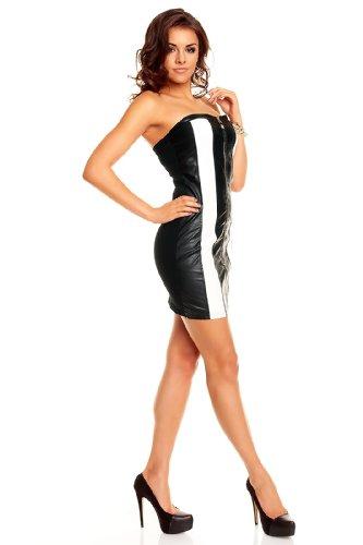 Bandeau Party Minikleid im Leder Look mit goldenen Pailletten in Schwarz - Weiß von KouCla Einheitsgröße XS S M - 3