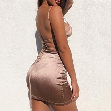 Battnot Damen Kleider Sexy Elegant Frauen Mode Sling Binden Hohl, Figurbetontes Midikleid Kurz Abend Party von der Schulter Festlich Prom Kleiding Womens Slim Fit Dress Schwarz Rot Rosa Gold XL - 2