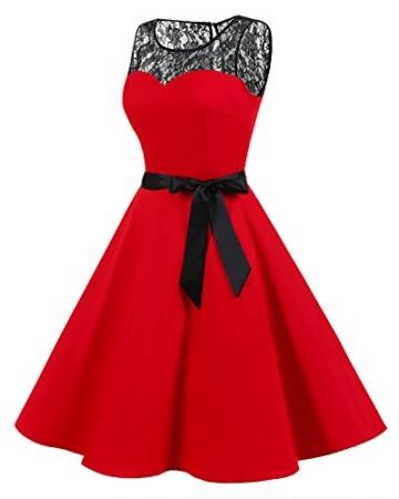 bbonlinedress 1950er Ärmellos Vintage Retro Spitzenkleid Rundhals Abendkleid Royal Blue M - 2