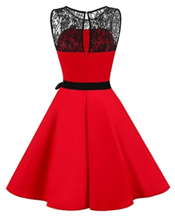 bbonlinedress 1950er Ärmellos Vintage Retro Spitzenkleid Rundhals Abendkleid Royal Blue M - 3