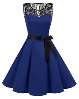 bbonlinedress 1950er Ärmellos Vintage Retro Spitzenkleid Rundhals Abendkleid Royal Blue M - 1