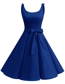 bbonlinedress 1950er Vintage Polka Dots Pinup Retro Rockabilly Kleid Cocktailkleider Royalblue S - 1
