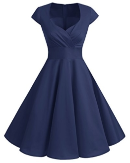 bbonlinedress 1950er Vintage Retro Cocktailkleid Rockabilly V-Ausschnitt Faltenrock Navy 3XL - 1