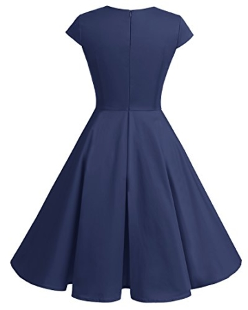 bbonlinedress 1950er Vintage Retro Cocktailkleid Rockabilly V-Ausschnitt Faltenrock Navy 3XL - 3