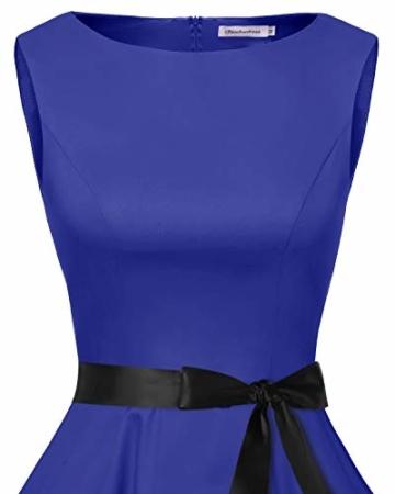 bbonlinedress 50s Retro Schwingen Vintage Rockabilly Kleid Faltenrock Royalblue M - 4