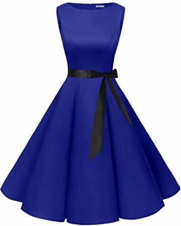 bbonlinedress 50s Retro Schwingen Vintage Rockabilly Kleid Faltenrock Royalblue M - 1