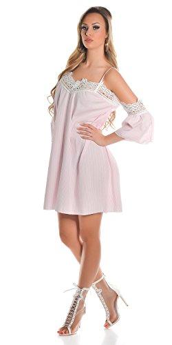 Beautiful Cold-Shoulder-Minikleid im Streifen-Look mit Häkelspitzen-Akzente One Size (Einheitsgröße) - 4