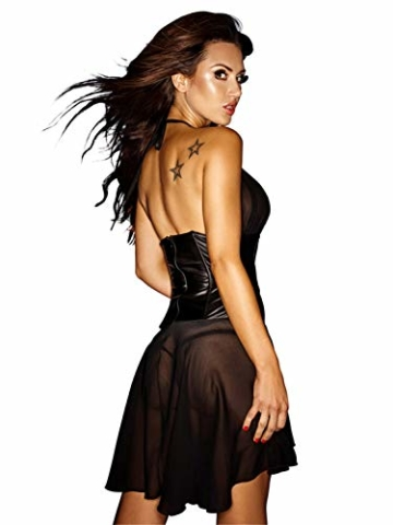 BeeMuse Damen Sexy Lingerie Dessous MiniKleid Clubwear Transparent Wetlook Neckholder Flexibel Nachtwäsche - 2