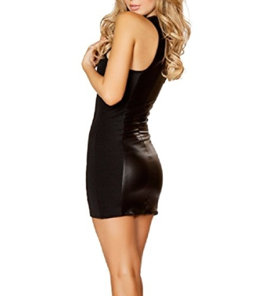 Befox Sexy Wetlook Minikleid Kleid Leder Lack Reizverschluss V-Ausschnitt Stretch Clubwear Fetisch Party Dress - 2
