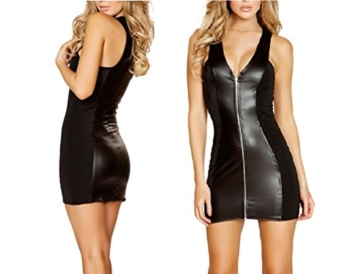 Befox Sexy Wetlook Minikleid Kleid Leder Lack Reizverschluss V-Ausschnitt Stretch Clubwear Fetisch Party Dress - 3