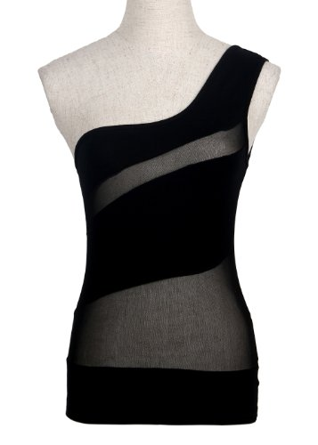 Bei wang Women's Hot Sexy One Shoulder Tank Top Clubwear Kleid One Size -