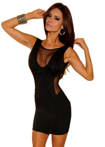 Bei Wang Women's Sexy Frauen Black Mesh V-Ausschnitt ärmelloses Minikleid Clubwear-Party dress - 1
