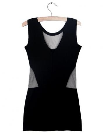 Bei Wang Women's Sexy Frauen Black Mesh V-Ausschnitt ärmelloses Minikleid Clubwear-Party dress - 5
