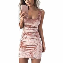 Beikoard Damen Goldsamt Eckiger Ausschnitt quadratischer Kragen Weste Kleid Bodycon-Kleid Casual Sexy Ballkleid Mini Wickelkleid - 1