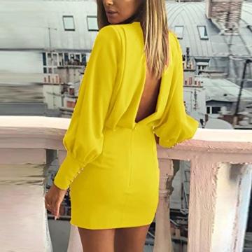 Beikoard Damen Kleider Bürodame Kleider Sexy O-Neck Business BallkleidLangarm Mini Kleider Volltonfarbe Rückenfreies Gesäßkleid - 2