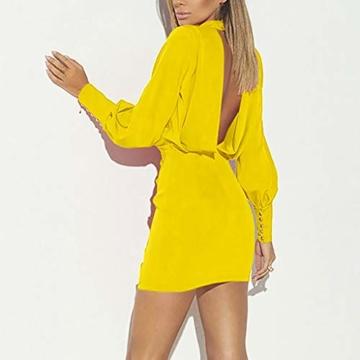 Beikoard Damen Kleider Bürodame Kleider Sexy O-Neck Business BallkleidLangarm Mini Kleider Volltonfarbe Rückenfreies Gesäßkleid - 3