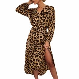 Beikoard Damen Knielang Maxikleid Casual Langarm Langes Kleid Frühlingskleid Leopard Print Split Abendkleider Schnüren V-Ausschnitt Party Kleider - 1