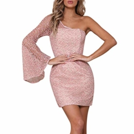 Beikoard Damen One-Shoulder Sexy Spitze Cocktailkleider Party Pencil Kurzes Midikleid Rosa Elegant Abend Kleider Ballkleid Bodycon-Kleid - 1