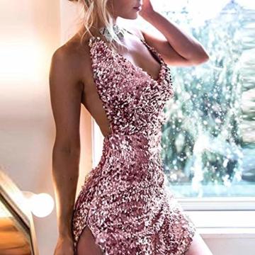 Beikoard Damen Sexy Sling Minikleid Ärmellose Soild-Paillette Rockabilly Neckholder Kleid Rückenfrei Abendkleider Party Club Kleid - 2