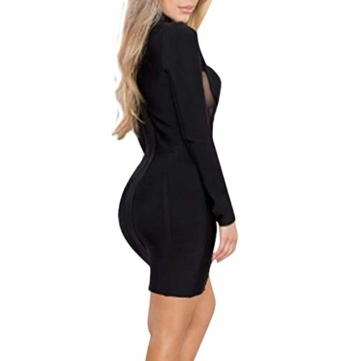 Beikoard Damenkleid Sexy Bodycon Party-Minikleid Langarm Nachtclub-Kleid Kurz Kleider Durchbrochenes Kleid - 3