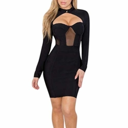 Beikoard Damenkleid Sexy Bodycon Party-Minikleid Langarm Nachtclub-Kleid Kurz Kleider Durchbrochenes Kleid - 1
